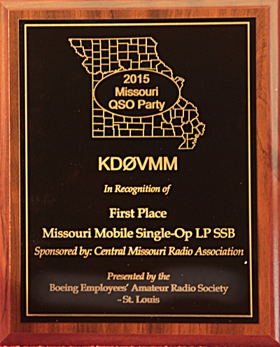MO QSO Party Plaque Sponsored in 2015 by CMRA